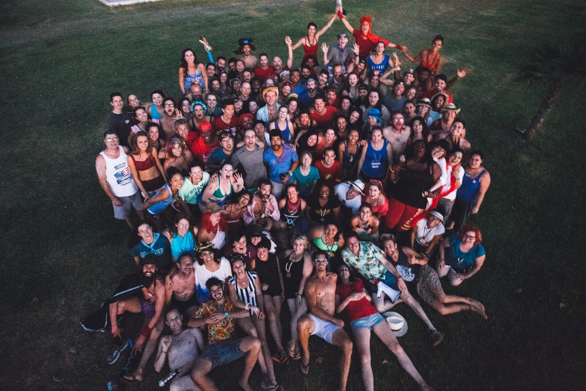 Overhead group picture of campers at Camp Grounded